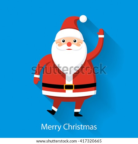 Santa Claus on blue background, flat style graphics, illustration - stock vector
