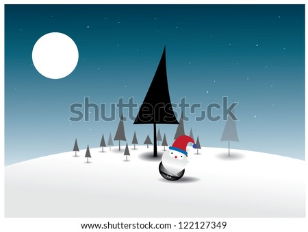 Santa Claus on Christmas tree background