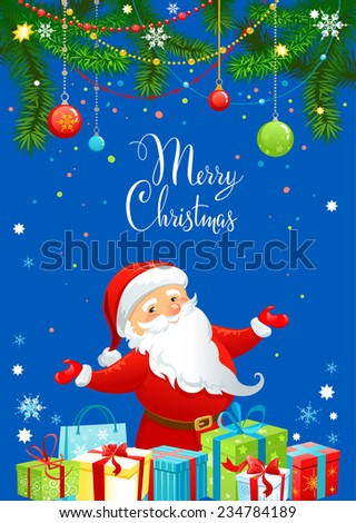 Santa Claus on greeting card with place for text. - stock vector