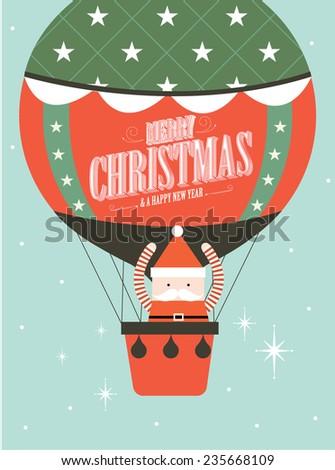 santa claus on hot air balloon christmas greeting template vector/illustration - stock vector