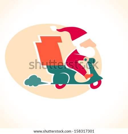 Santa Claus on red motorbike. Pizza delivery man. Cartoon character in retro style. It can be used for decorating of invitations, cards, menu, decoration for bags and clothes. - stock vector