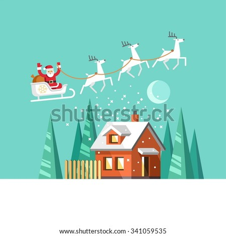 Santa Claus on sleigh and his reindeers. Winter house. Christmas card. Vector illustration, flat style. - stock vector