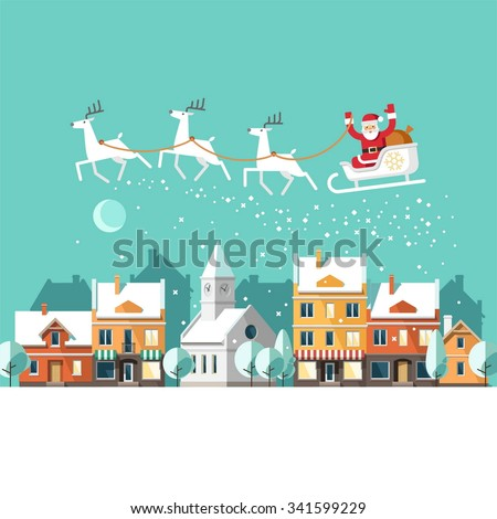 Santa Claus on sleigh and his reindeers. Winter town. Urban winter landscape. Christmas card. Vector illustration, flat style. - stock vector