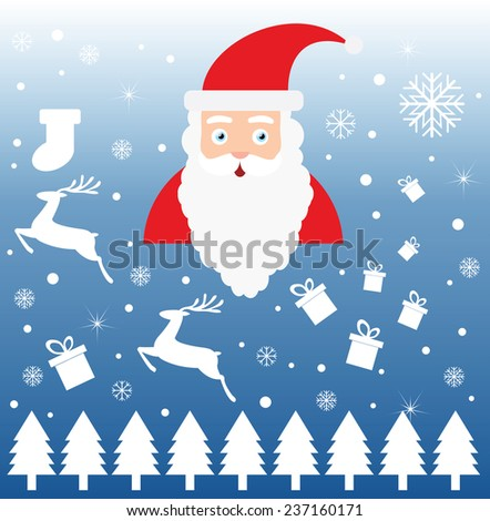 Santa Claus on snow backgrounds with white reindeer, gift ,sock and tree