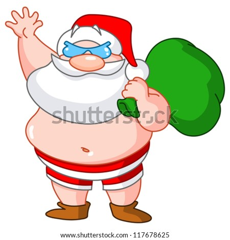 Santa Claus on the beach wearing swimsuit and carrying sack of presents - stock vector