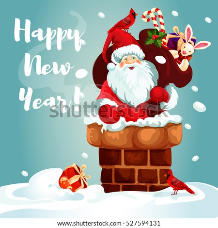 Santa Claus on the roof. Santa with gift bag full of present box, candy cane, holly berry and toy gets into the chimney. Winter holiday festive poster design