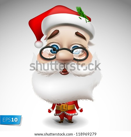 Santa Claus on white background, vector Eps 10 illustration - stock vector