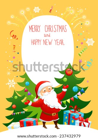 Santa Claus on yellow holiday background. Bright illustration with copy space. - stock vector