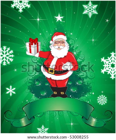 santa claus over green background