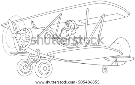 Santa Claus piloting his old wood airplane