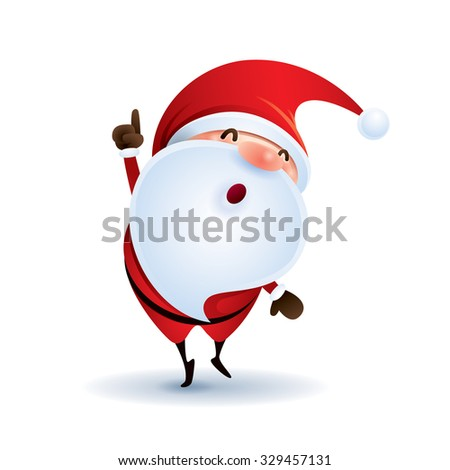 Santa Claus point finger up. - stock vector
