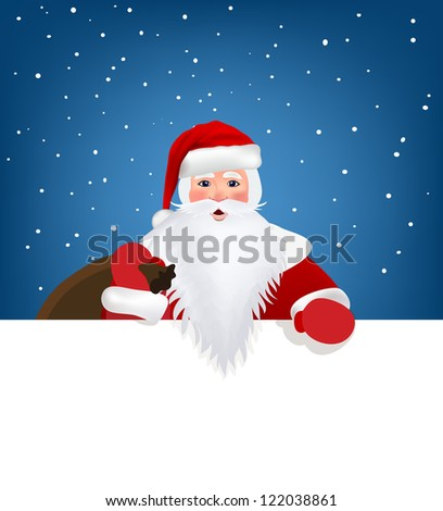 Santa Claus pointing in white blank sign with smile, isolated on white background - stock vector