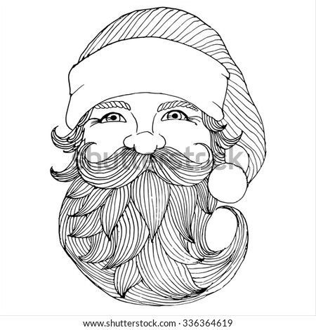 Santa Claus portrait. Engraving style. Vector artwork. Christmas illustration. - stock vector