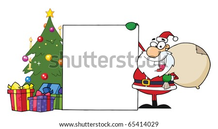 Santa Claus Presenting A Blank Sign And Christmas Tree - stock vector