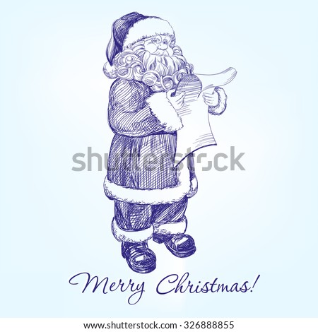 Santa Claus reading a letter hand drawn vector llustration realistic sketch - stock vector