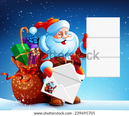 Santa Claus reads a letter of congratulation. In his hands he holds a festive envelope. Bag with gifts, sweets and surprises. Happy New Year. Merry Christmas. Vector. Icon.