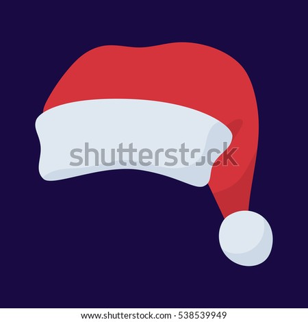 Santa Claus red hat in cartoon flat style. Santa Claus red hat isolated on background. New Year 2017
