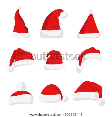 just red christmas santa hat white stock vector 511693102 shutterstock rh shutterstock com Santa Hat SVG Santa Hat Outline