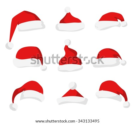 Santa Claus red hat silhouette. Santa hat, Santa red hat isolated on white. Santa hat. New Year 2016 santa red hat . Santa head hat vector. Santa Christmas hat decoration. Santa face hat vector icons