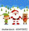 Santa Claus, Reindeer, Elf - stock vector