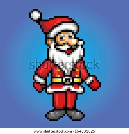 santa claus retro 8 bit - pixel art style vector illustration - stock vector
