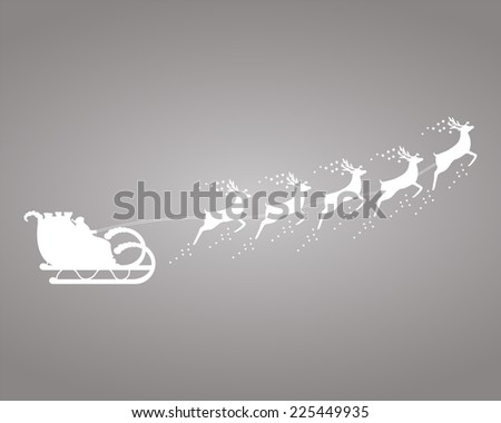 Santa Claus rides in a sleigh in harness on the reindeer  - stock vector