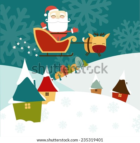Santa Claus rides in a sleigh over the small houses and trees illustration - stock vector