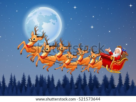 santa claus rides reindeer sleigh flying stock vector 2018 521573644 shutterstock - Santa Claus And Reindeers