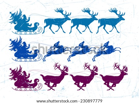 Santa Claus riding a sleigh pulled by reindeers. Santa Claus carries a sack of gifts and fir tree. - stock vector