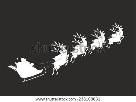 Santa Claus riding in a sledge - stock vector