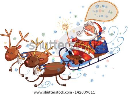 Santa Claus riding in reindeer sleigh - stock vector