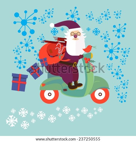 Santa Claus riding on a moped through the snow. illustration - stock vector