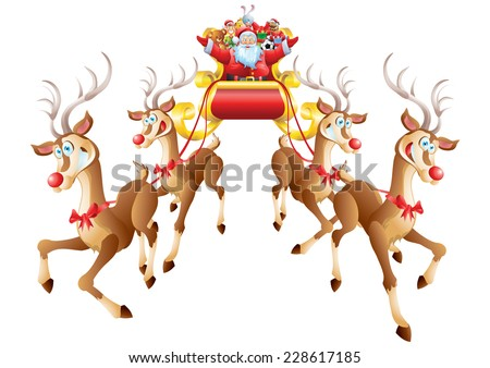 Santa Claus riding sleigh full of toys with four reindeer isolated - stock vector