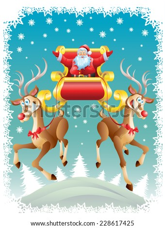Santa Claus riding sleigh with two reindeers - stock vector