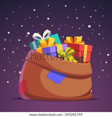 Santa Claus sack full of gift and present boxes in front night falling snow background. Flat style isolated vector illustration. - stock vector
