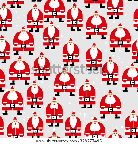 Santa Claus seamless pattern. Christmas background. Ornament of  grandfathers with beard for  new year holiday.