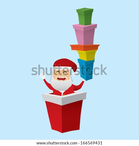 Santa Claus set doing actions for use in advertising, presentations, brochures, documents, forms, etc.