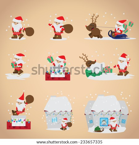 Santa Claus Set - Isolated On Pink Background - Vector Illustration, Graphic Design Editable For Your Design - stock vector