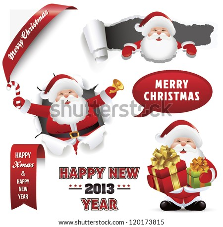 Santa Claus set with Christmas elements. - stock vector