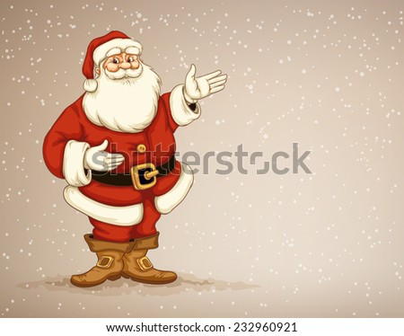 Santa Claus showing in empty place for advertising. Eps10 vector illustration - stock vector