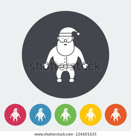 Santa Claus. Single flat icon on the circle. Vector illustration. - stock vector