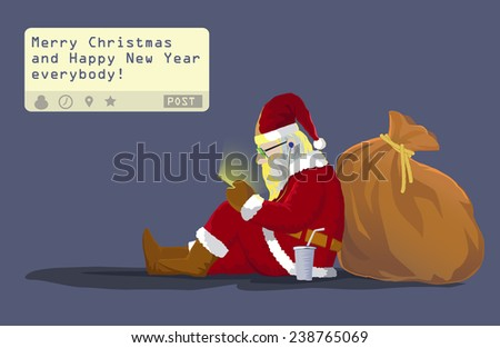 "Santa claus sit on the ground  lean on his gift bag sending a post "" Merry Christmas and Happy New Year everybody!"" from his mobile phone  - stock vector"