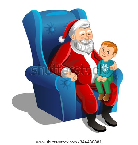 Santa Claus sitting in armchair with little boy. Vector Christmas Scene - stock vector