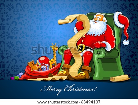 santa claus sitting in armchair with sack of gift reading vector illustration