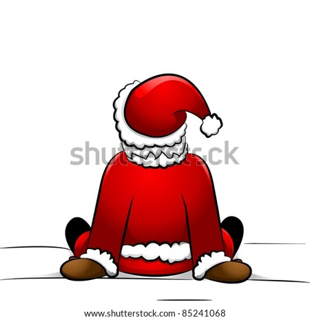 Santa Claus sitting in the snow - stock vector