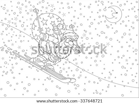 Santa Claus skiing down the snow hill with his big bag of Christmas gifts for children, a black and white vector illustration for a coloring book - stock vector