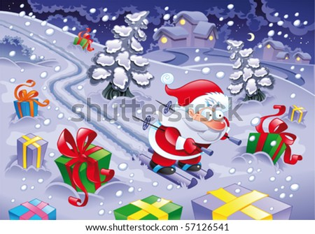 Santa Claus skiing in the night. Funny cartoon and vector illustration - stock vector