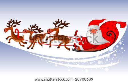 Santa Claus Sleigh - stock vector