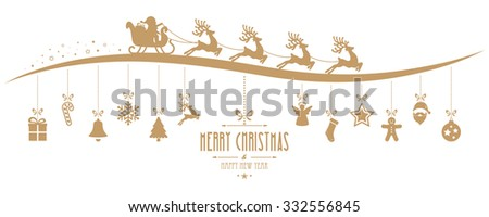 Santa Claus sleigh christmas elements hanging gold isolated background - stock vector