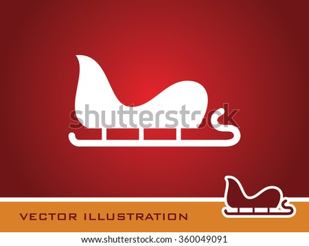 red christmas sleigh of santa claus vector illustration isolated on ...